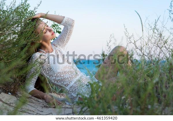 beauty woman in the sea beach