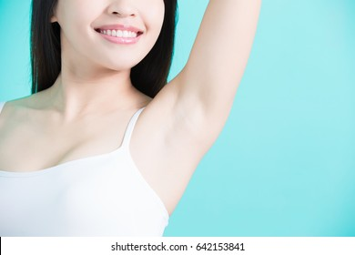 beauty woman smile happily with body odor problem