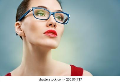 beauty woman wearing glasses