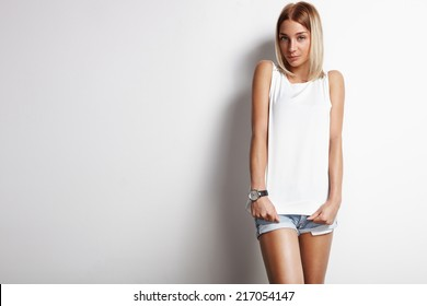 beauty woman wearing white top