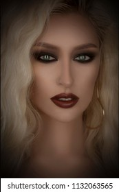 Beauty woman's face closeup isolated on black. Cat eye portrait, Blonde model's portrait with professional makeup and hairstyle. Smoky eyes and perfect eyebrows. Seductive and mystic eyes. Clean skin.