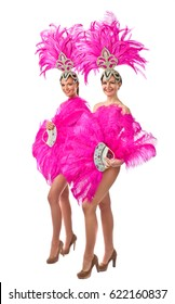 Beauty Women with Perfect Makeup. Beautiful Professional  Make-up  , perfect headdress with natural feathers and rhinestones. Beautiful Girls in carnival costume, isolated on white background.