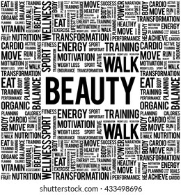 BEAUTY word cloud background, health concept