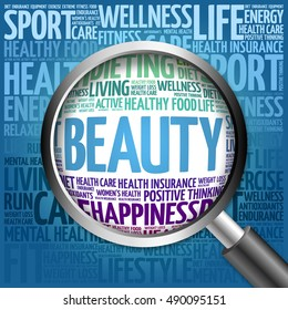 BEAUTY word cloud with magnifying glass, health concept 3D illustration