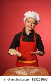 beauty young cook make bread or cake