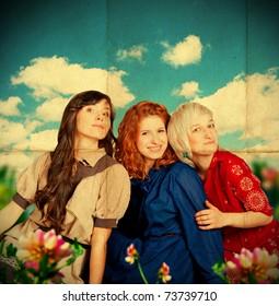 beauty young girls on meadow, blue sky, vintage pattern