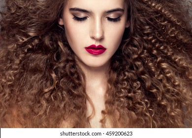 Beauty Young Woman Curly Small Long Stock Photo Edit Now 459200635