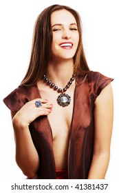 beauty young woman with good teeth and luxury jewelery (isolated)