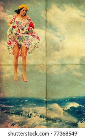 beauty young woman jump from sky in water, vintage art collage