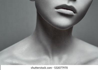 Beauty young Woman like a Statue