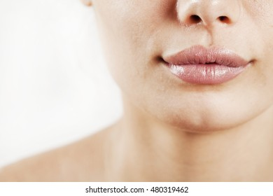 Beauty young woman lips