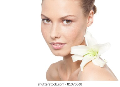 beauty  young woman on white