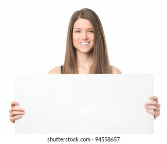 Beauty young woman portrait with bulletin board