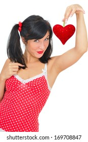beauty young woman with red  heart on white background