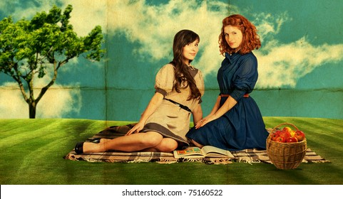 beauty young women on nature, green  grass, blue sky,retro paper texture