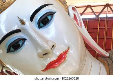 The beautyful of big Buddha in Myanmar, Kyauk Htat Gyi (Yangon, Myanmar) closeup shot