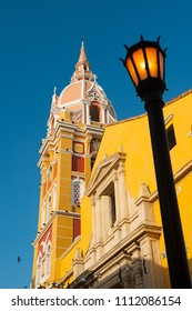 Beautyful cathedral in Cartagena, Colombia. The historic centre of Cartagena is a UNESCO World Heritage Site.
