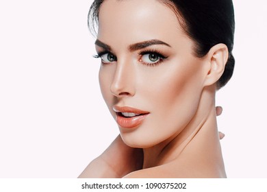 Beautyful skin care woman, beauty concept healthy face makeup, female model portrait. Spa model girl with beautiful lips neck and shoulders. Studio shot.