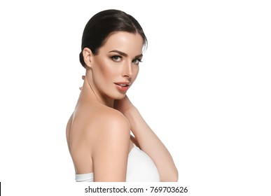 Beautyful skin care woman, beauty concept healthy face makeup, female model portrait. Spa model girl with beautiful lips neck and shoulders
