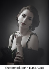 Beautyful Stranger. Retro styled female portrait. Professional vintage makeup and hair