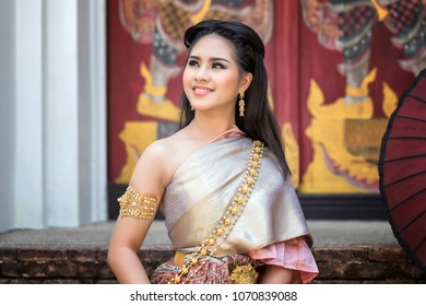 Beautyful Thai woman wearing thai traditional clothing