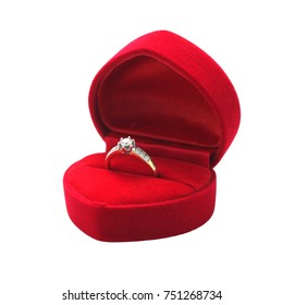 Beautyful wedding diamond ring in a gift box isolated on white background.