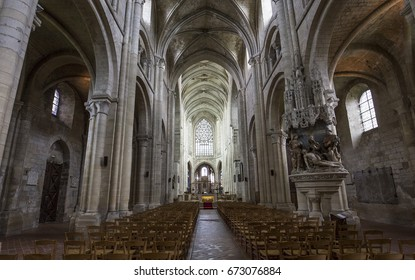 BEAUVAIS, FRANCE, APRIL 15,  2017 : interiors and architectural details of Saint Etienne cathedral, april 15, 2017, in  Beauvais, France
