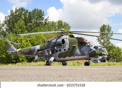 BEAUVECHAIN, BELGIUM - MAY 20, 2015: Czech Air Force Mi-24 Hind attack helicopter.