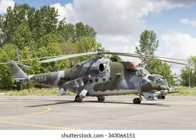 BEAUVECHAIN, BELGIUM - MAY 20, 2015: Czech Air Force Mi-24V Hind attack helicopter.