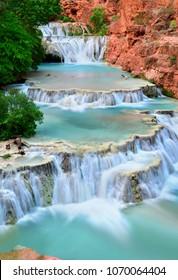 Beaver Falls along Havasu Creek in Havasupai, Grand Canyon, Arizona USA