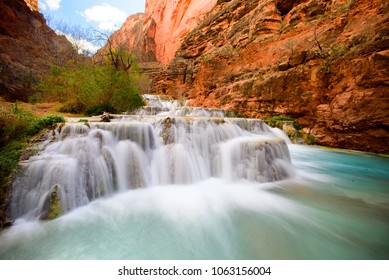 Beaver Falls in the Havasupai Falls Area.  Long exposure shot of the waterfall on March 4, 2018