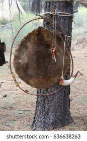 Beaver hide  ,	early 19th century Fur Trader re-enactment,	High Desert Museum,	Central Oregon