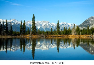 Beaver ponds in the Bow Valley on a spring morning. Alberta, Canada.