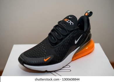 """Beaverton, OR, USA - January 31: Nike Air Max 270 shoe, with called offensive logo to Muslims, resembling the word """"Allah"""" in Arabic"""