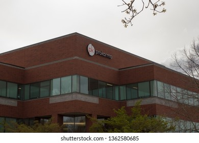 "Beaverton, Oregon - Apr 3, 2019: The sign of ""prokarma"" on the facade of a ProKarma corporate office building. ProKarma is an IT solutions company founded in 2004."
