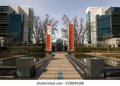 Beaverton, Oregon - Mar 14, 2019: Corporate office buildings at NIKE World Headquarters.