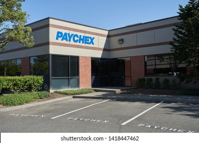Beaverton, Oregon - May 8, 2019: The PAYCHEX Beaverton Office. Paychex, Inc. is an American provider of payroll, human resource, and benefits outsourcing services for small to medium sized businesses.