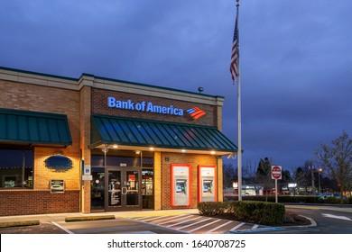 Beaverton, Oregon/USA- February 2, 2020:  Bank of America branch building in Beaverton at twilight