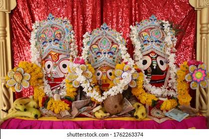 Beawar, Rajasthan, India, June 23,2020: Idol of Lord Jagannath, Balaram & Subhadra at Sanwaliya Seth temple on the occasion of Rath Yatra (Chariot Procession) festival in Beawar. Photo: Sumit Saraswat