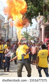 Beawar, Rajasthan, India - October 03, 2016: A flamethrower performs a stunt in Beawar in the Indian state of Rajasthan. Photo/Sumit Saraswat