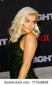 "Bebe Rexha attends the Netflix ""Bright"" premiere on Dec. 13, 2017 at the Regency Village Theatre in Los Angeles, CA."