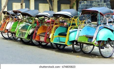 Becak in Jogjakarta, Java, Indonesia