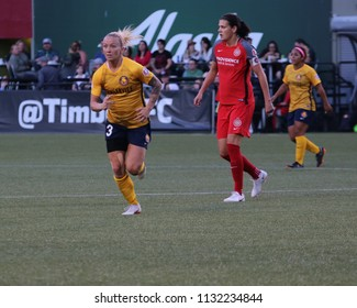Becca Moros midfielder for the Utah Royals FC at Providence Park in Portland, USA July 6, 2018.
