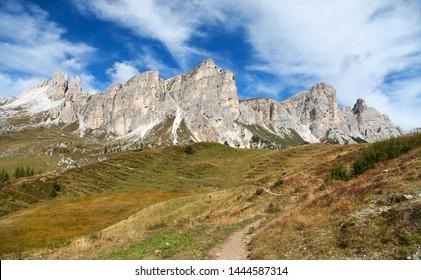 Becco di Mezzodi and Rocheta, Beautiful Alps dolomites mountains in Italia