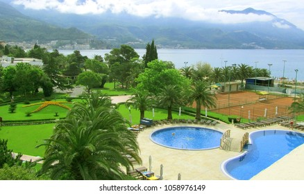 Becici, Montenegro - 24 May, 2012: Wonderful panoramic view of the Hotel Iberostar Bellevue 4. The swimming pool, tennis court in the greens. Ideal place for perfect vacation.