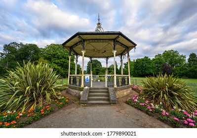 Beckenham (Greater London), Kent / UK - Jul 16 2020: The Bowie Bandstand in Croydon Road Recreation Ground, central Beckenham. David Bowie performed here in 1969. Close very wide view of the bandstand