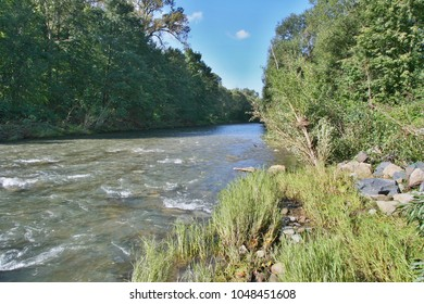 The Becva river flows through the woods with banks of stony, sprouted plants.