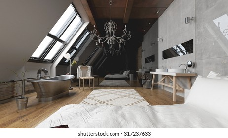 Bed and bathtub in modern master bedroom - 3 D render using 3 d s Max