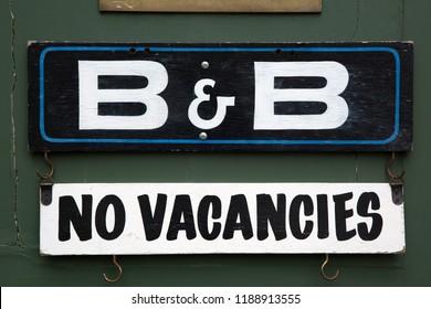 Bed and Breakfast No Vacancies Sign