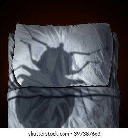 Bed bug fear or bedbug worry concept as a cast shadow of a a parasitic insect pest resting on a pillow and sheets as a symbol and metaphor for the anxiety as a 3D illustration.